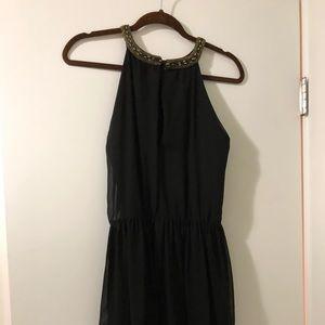 Zara black dress with sequin collar M
